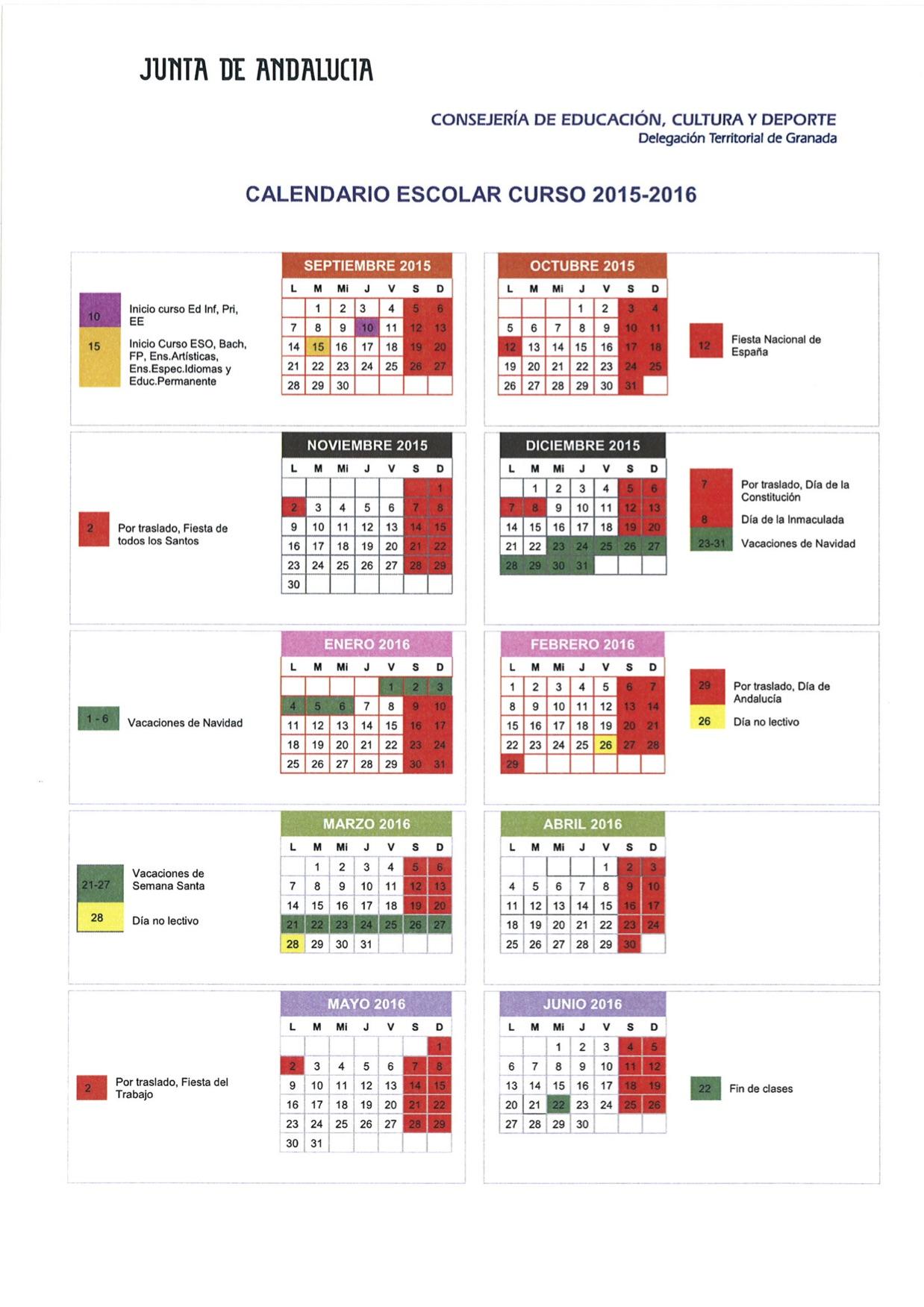 el Calendario Escolar Provincial para el próximo curso 2015/2016 ...